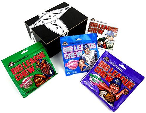 Big League Chew 4Flavor Variety One 212 oz Pouch Each of Outta Here Original Ground Ball Grape Curveball Cotton Candy and Wild Pitch Watermelon in a BlackTie Box 4 Items Total *** Click image to review more details.