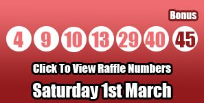 Here are the Lotto results for Saturday 1st March 2014, you can find the Lotto raffle results via this link: http://lottorafflenumbers.com/lotto-results-1st-march/