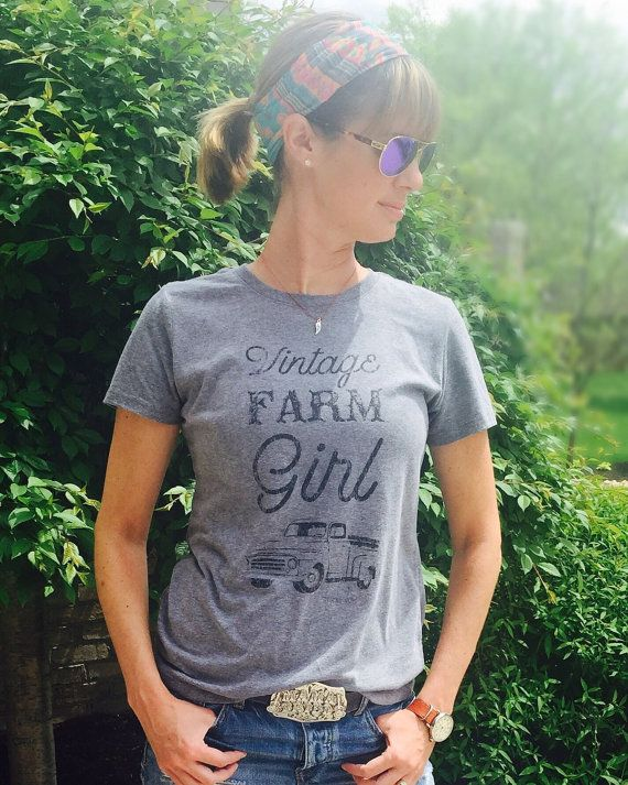 This tees are a unisex fit and true to size. :)  As I am growing my shop, a theme keeps appearing, vintage farm girl! So I had to have Vintage Farm Girl be the design on one of my first shirts!! Im SO in love with this shirt!! Hope you will be too!!! ♥ Shirts are a super soft tri-blend gray with black distressed lettering.  ♥ Machine wash cold and tumble dry inside out.  ♥ Shirts are unisex size and true to size. ♥ Would make the most adorable outfit with your fav jeans and cowboy boots