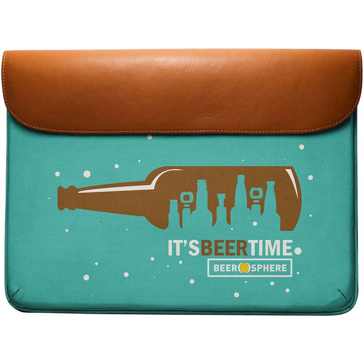 """DailyObjects Funny Quote Beer O'Clock Real Leather Envelope Sleeve For MacBook Pro 13"""" designed by Beerosphere. Funky people Carry it to college or office as a document holder or laptop bag and leave a good impression on your friends."""