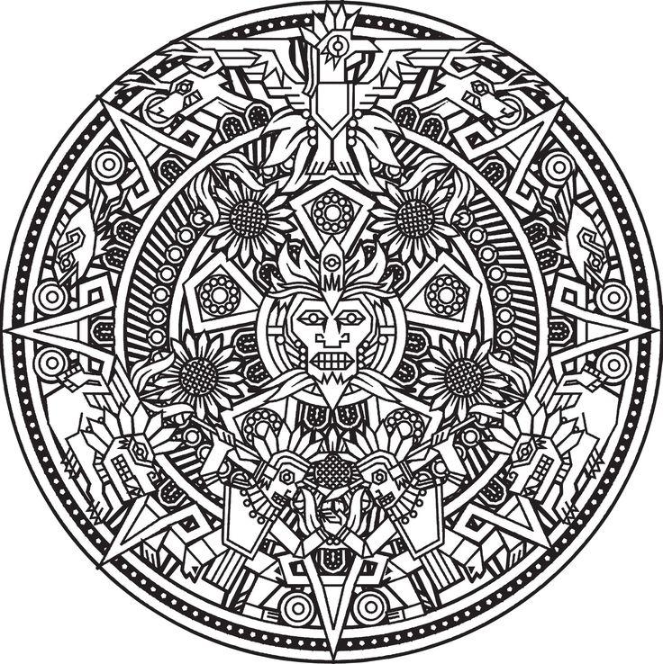 Calendario solar azteca que se convierte en un lindo mandala para colorear