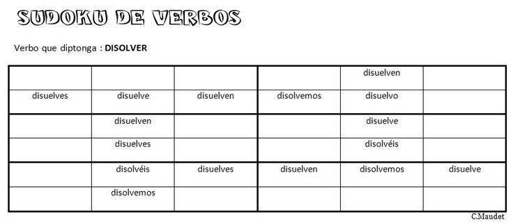 Sudoku: verbo disolver en presente (O>ue)