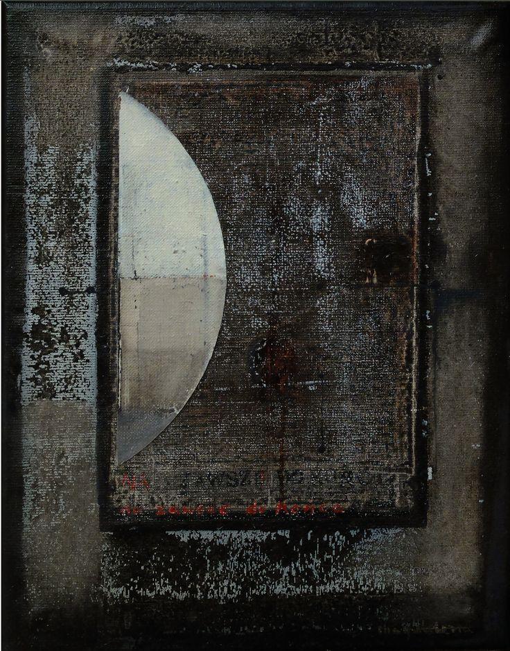 Na zawsze/ Forever, oil, acrylic, collage on canvas, 43x34 cm. M. Daniec