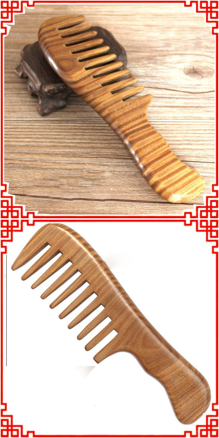 [Visit to Buy] Sandalwood Wide Tooth Hair Comb Handmade Wooden Natural Head Massager Combs Hair Brush Hairbrush Styling Tools #Advertisement