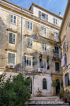 Facade of an old building in Corfu island, Greece