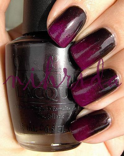 gradient -- OPI Midnight in Moscow & Color Club Power Play (By Nihrida http://www.nihrida.com/)