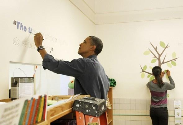 President Obama + oldest daughter Malia + RoomMates Peel & Stick