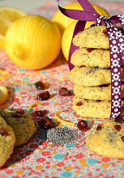 Cranberry, lemon avec poppy seed cookies - Cookies citron cranberries pavot