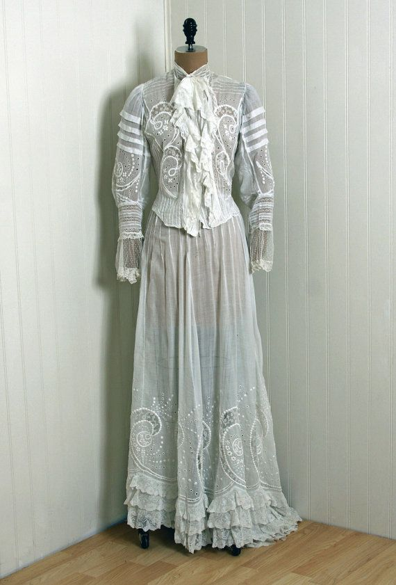 Two Piece Wedding Dress 1900 S Embroidered Voile Cotton