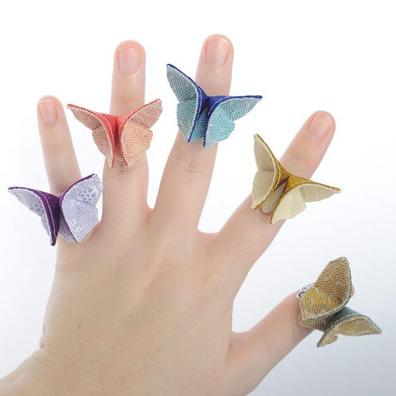 Silk Origami http://www.etsy.com/treasury/Nzg2NDExOXwyNDg2NTQ4NjMw/april-trends?index=7 Butterfly Adjustable Ring Custom Made by SewSmashing, $14.00