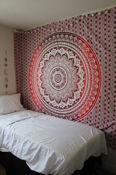 Hippie Trippy Red Ombre Mandala Tapestry Lady Scorpio