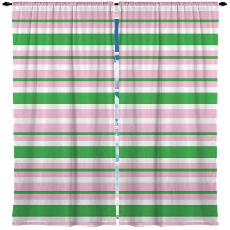Preppy Soft Pink and Green Beach Stripes Window Curtains from Kids Bedding Company