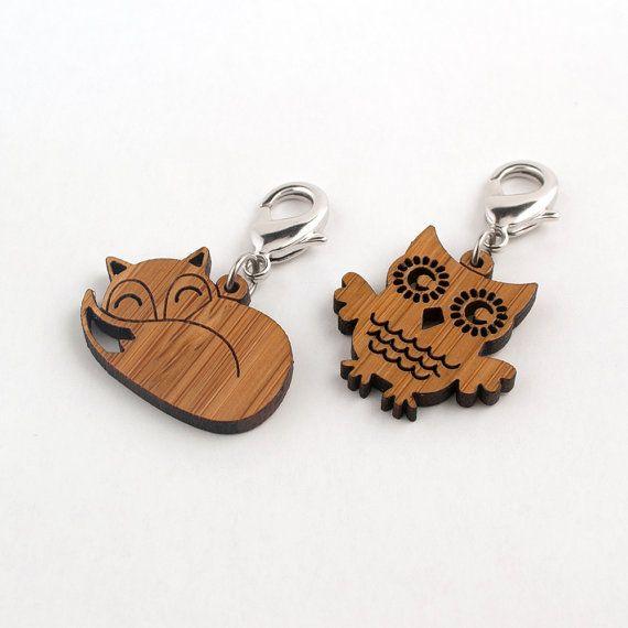 Zipper Pulls: Owl & Fox Bamboo Wood (Set of 2). $16.00, via Etsy.
