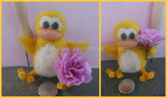 Needle Felted  'Quack the yellow duck'  7cm by Tinascraftsforyou, £15.95