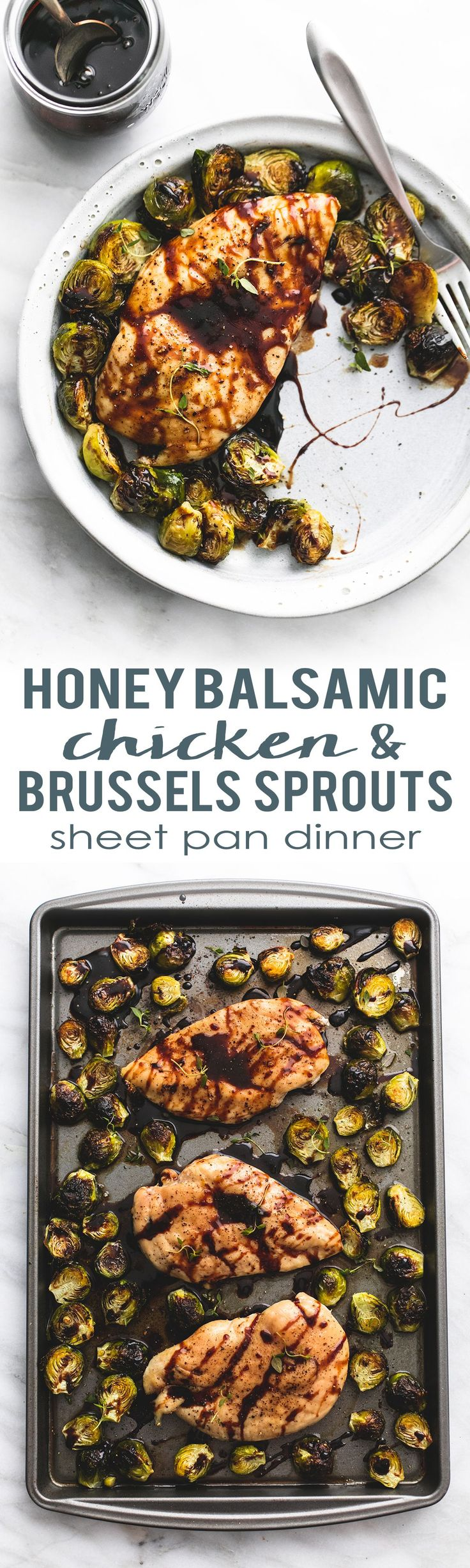Minus the brussels for GP friendly.  Easy healthy Sheet Pan Honey Balsamic Chicken & Brussels Sprouts dinner | lecremedelacrumb.com