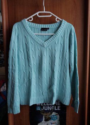 Kupuj mé předměty na #vinted http://www.vinted.cz/damske-obleceni/s-v-vystrihem/14470715-krasny-pleteny-bavlneny-svetr-v-mintbaby-blue-barve