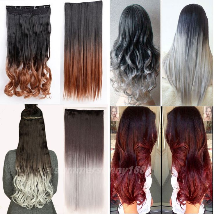FREE SHIPPING Full Head Clip In Hair Extensions One Piece Maga Thick Deluxe Black Brown Blonde Auburn Red Grey hair Extentions