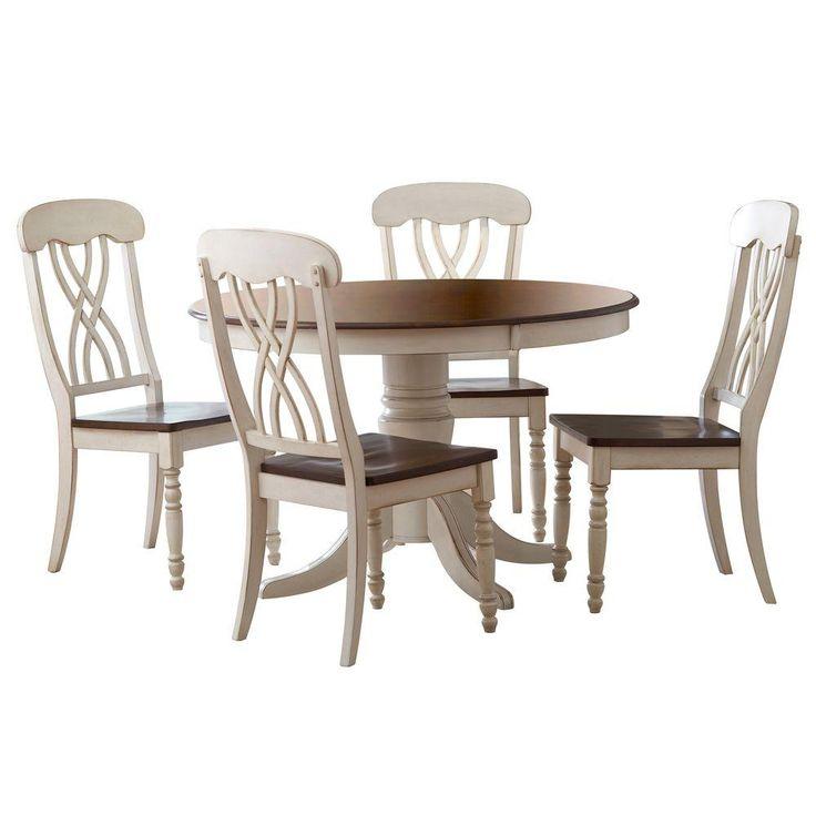 coronado antique white double pedestal dining table oval piece cherry set round