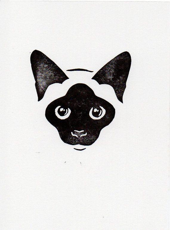 Black and White Cat linocut woodblock printmaking by WeThinkSmall