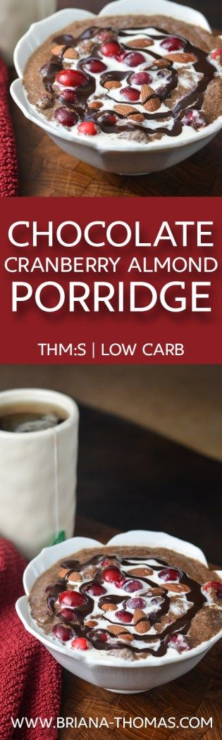 Chocolate Cranberry Almond Porridge - a warming single-serve breakfast for the winter - THM:S - low glycemic - low carb - protein - fiber - chia seeds - gluten free - egg free - dairy free - nut free option - Trim Healthy Mama friendly
