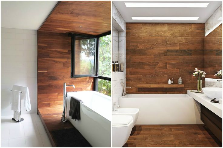 Оформление стен в ванной комнате ламинатом