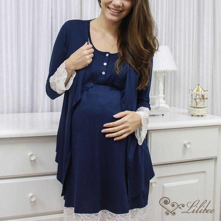 Homewear Beatriz 2 peças - A versão com duas peças traz uma camisola linda e fresquinha, com o casaco de malha!   #enxoval #homewear #pijama #mamae