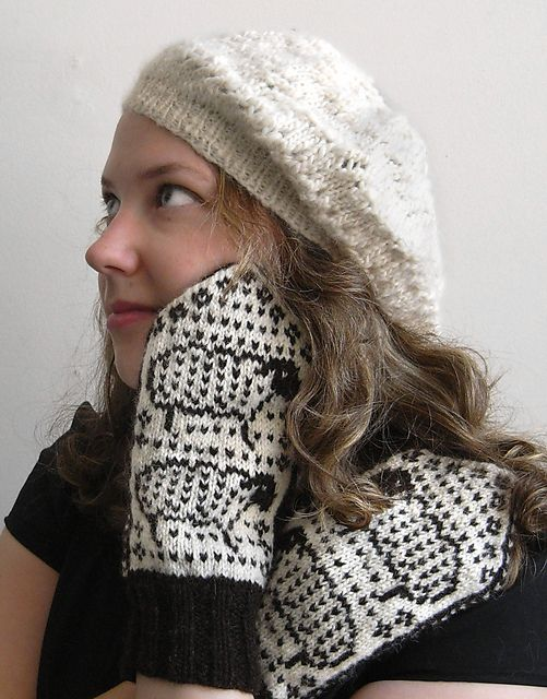 Adorable meta mittens pattern by Elizabeth Wolden. there's a matching cap too (not shown)