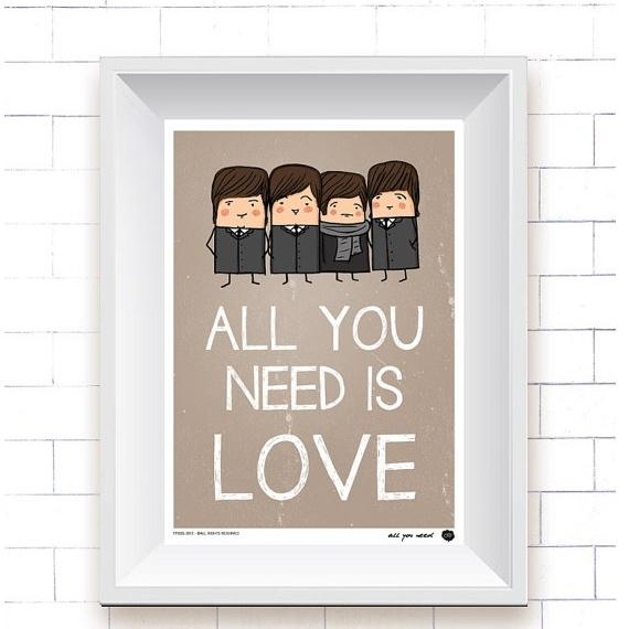Simpático y exclusivo dibujo de los 4 de Liverpool que nos recuerda una de sus canciones más conocidas y admiradas.    http://www.neodalia.com/es/ventas/dibujos-the-beatles