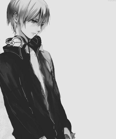 sad anime guy with headphones
