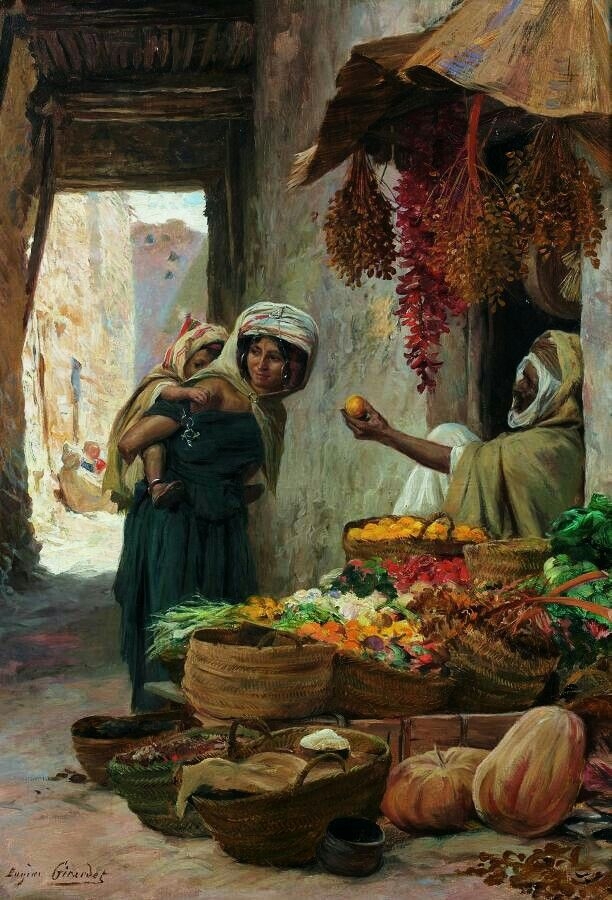 """The Fruit Vendor"" Painting by Eugene Girardet,  French, 1853 - 1907"