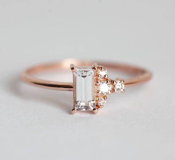White Sapphire Ring Baguette Diamond Engagement Ring Etsy Engagement Rings Sapphire White Sapphire Ring Purple Amethyst Ring