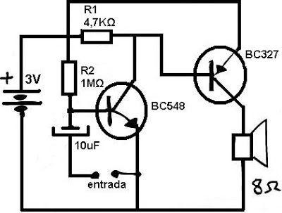 Amplificadores de audio: Amplificador de audio de 3 volt de alimentación