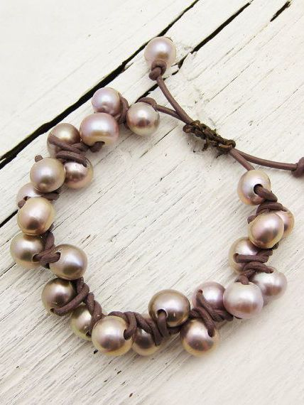 Pink Pearl Leather Bracelet Knotted w/ Natural Fresh