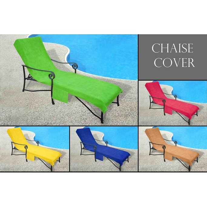 Pool Side Chaise Cover perfect for Pool lounge Chair, Lawn Chair, Patio Chair Cover with 10-Inch Slip-on Back and Side Pocket