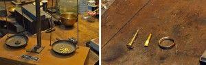 Die alte Waage hilft beim Abwiegen des Materials des Rings, der Schritt für Schritt im Anschluss entsteht