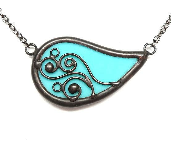 Paisley swirls stained glass necklace 1440 by LingGlass on Etsy, $28.00