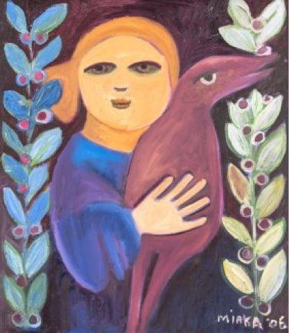 Blue - woman - and bird - painting - Mirka MORA - Paris, France born 1928…