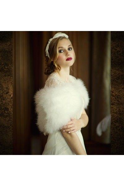chle tole bolro mariage plumes marabout demoiselle dhonneur accessoires de la - Bolro Mariage Ivoire