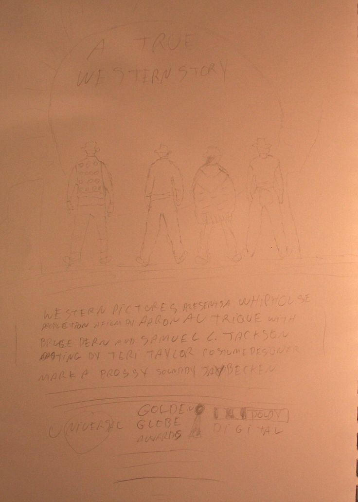 In deze schets heb ik 4 cowboys getekend die met hun gezicht gericht staan naar de zonsopgang.