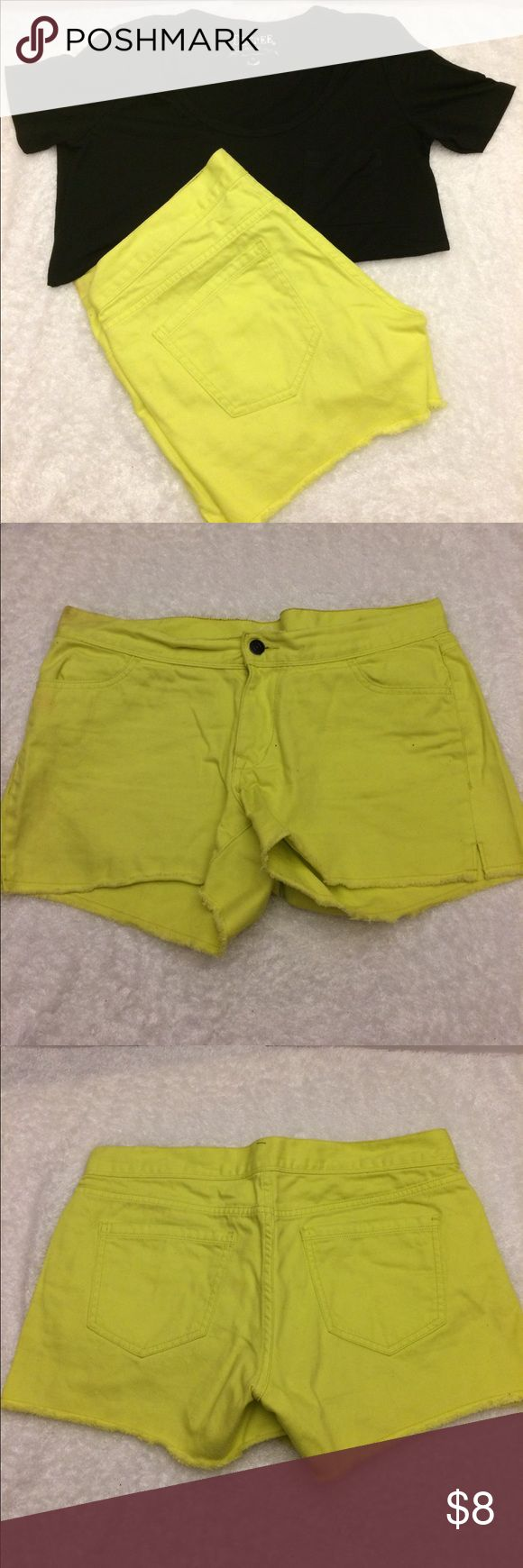 Neon yellow jean shorts Old Navy neon yellow Jean shorts in size 10. Slight discoloration/stain (see picture).  Could use a good washing with stain remover. Old Navy Shorts Jean Shorts