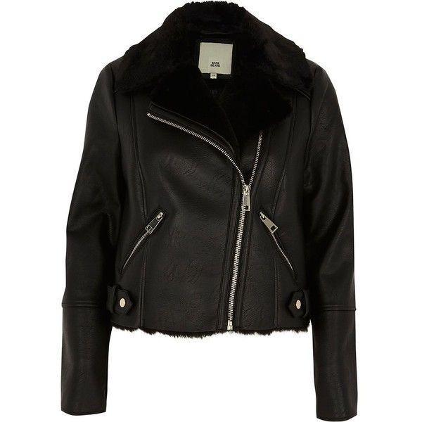 River Island Black faux fur lined biker jacket ($136) ❤ liked on Polyvore featuring outerwear, jackets, black, coats / jackets, women, bike jerseys, vegan leather jacket, biker jackets, faux fur collar jacket and faux-leather jacket