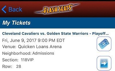 (2) VIP Tickets Cleveland Cavs v Warriors Game 4 NBA Finals Lower Level VIP BAR!