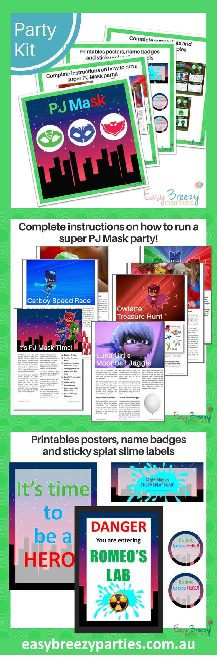 PJ Mask party ideas - Printable party kit with complete instructions on how to run your own PJ Mask party. Printable posters included. #easybreezyparties #pjmask