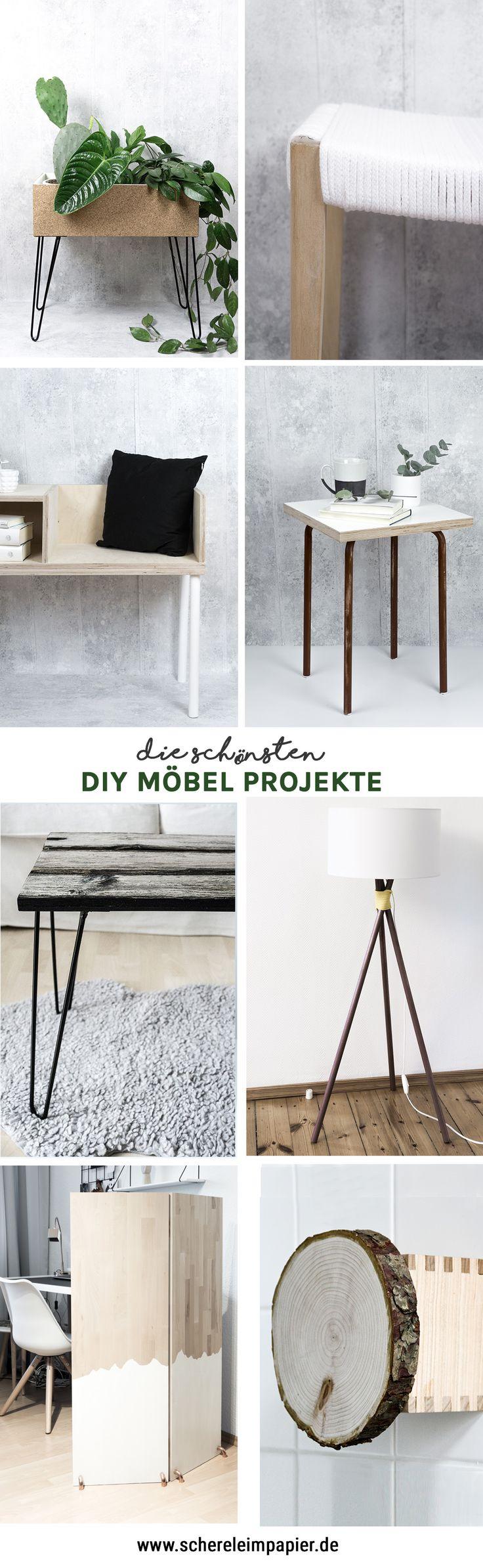 DIY Möbel Ideen: DIY Wohnen - Alle Anleitungen zu finden bei schereleimpapier.de | #diy #diymöbel #möbel |Möbel selber bauen, DIY Tisch, DIY Hocker, Einrichtung selber machen, Lampe selber bauen