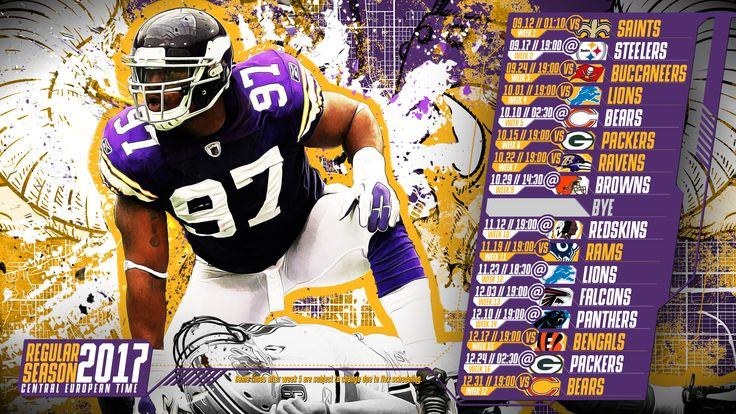 Schedule wallpaper for the Minnesota Vikings Regular Season, 2017 Central European Time. Made by #tgersdiy