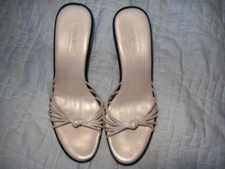 sz 38/8 Charles David metallic ivory strappy knot made in italy wedge dress shoe #CharlesDavid #PlatformsWedges