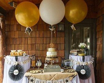 Gold and White Giant Balloons | Birthday | Golden Anniversary | Rustic Wedding | Dessert Bar Ideas  #balloons #weddingidea #babyshower #reception