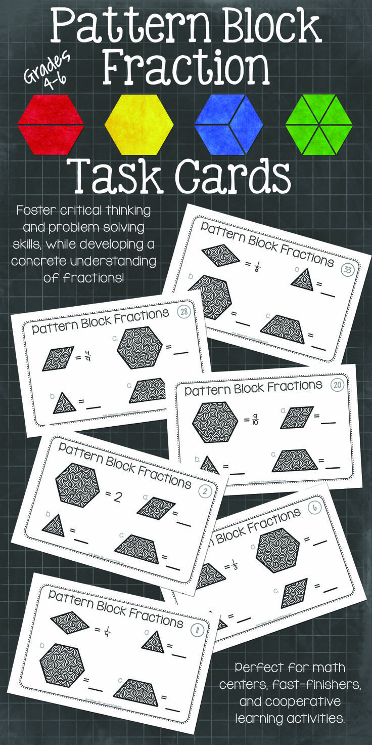 Pattern block fraction task cards. If... Then.
