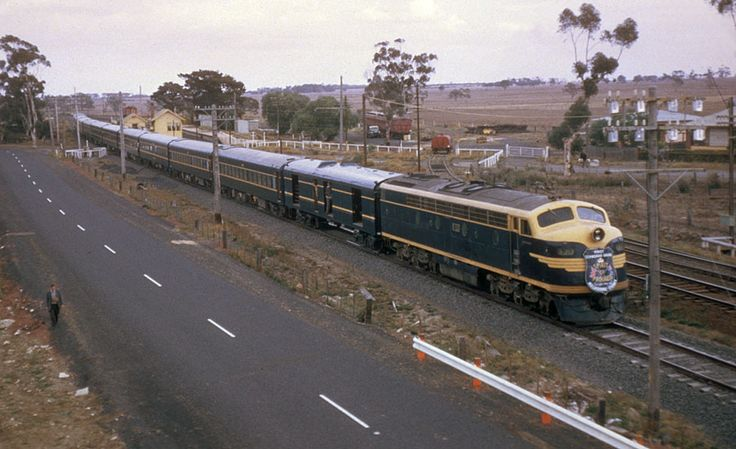 """Although this photo looks like it is of the first standard gauge """"Spirit Of Progress"""" It was a car positioning move to get the Spirit cars to Sydney for the inaugral Sydney to Melbourne service, the loco, S 313 was barely one year old. Craigieburn, April 14 1962"""