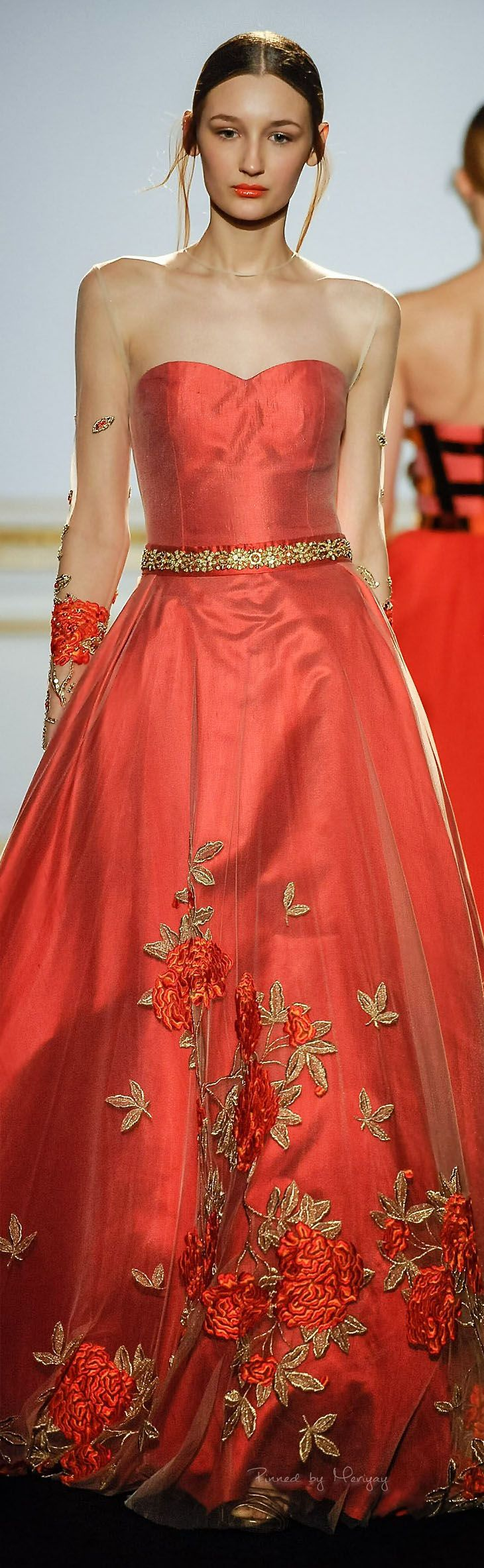 Dany Atrache ~ Couture Summer Coral Gown w Gold Embroidery 2015 .